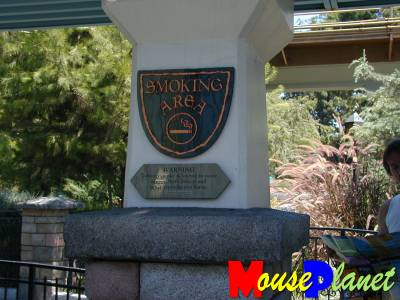 PHOTO: A smoking area sign near Fantasyland.