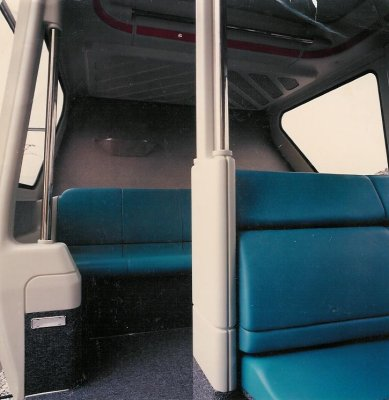 Inside Bombardier's highly finished mockup. The seat is in the down position, lower right. Photo courtesy of George McGinnis.