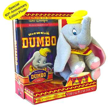 The VHS edition of Dumbo is also available in a set with a plush toy included - Promotional art � Disney