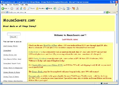 MouseSavers home page screen shot