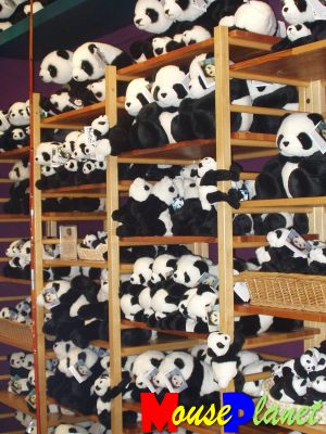 San Diego Zoo Baby Panda Exhibit: A tower of plush pandas. Photo by Lisa Perkis, copyright MousePlanet.