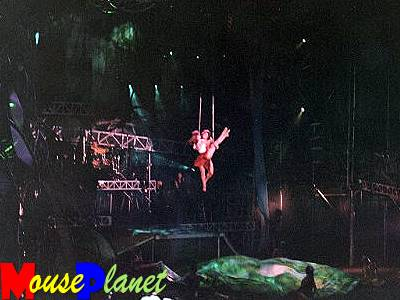 Tarzan and Jane performing incredible aerial feats that wow the audience. Photo by Pat Edaburn.