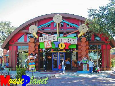 The facade of Once Upon a Toy features several well-known toys.