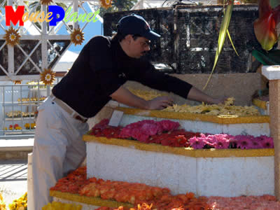 A decorator places fresh flowers on the float. Photo by Adrienne Vincent-Phoenix, copyright MousePlanet.